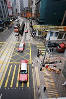 Hong Kong Central street view from the mid level escalator
