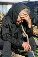 Woman dressed in mourning in a rural village. Galicia, Spain