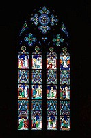 Budapest Matyas Mattias Matthias Church interior daylight stained glass Buda Castle Hungary Europe