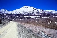 Road on Kunzam Pass Lahaul Spiti , Himachal Pradesh , India
