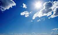 blue sunny day sky with clouds skyscape image