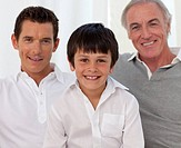 Smiling portrait of son, father and grandfather