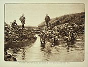 Military engineers repairing dikes along the river Yser / IJzer at Nieuwpoort in Flanders during the First World War, Belgium