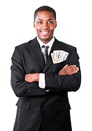 Handsome Afro_American businessman with folded arms and dollars in a pocket