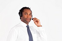 Isolated afro_american businessman with headset working