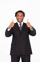 Afro_american businessman with thumbs up smiling at the camera