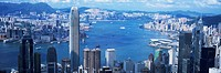 Panoramic view of Victoria Harbour from the Peak, Hong Kong