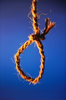 Concept , death hangman noose against blue background