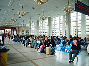 Passengers waiting at the lounge, Beijing, China