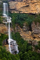 Australia, New South Wales, Blue Mountains National Park  Katoomba Falls and native bush