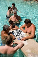 Men playing chess in a thermal bath, Men playing chess in a thermal bath of the Szechenyi_baths, Pest, Budapest, Hungary