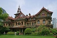 Moller Villa Hotel, fairytale gothic fantasy, brick building, 1936, Heng Shan group, garden