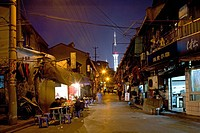 Hongkou quarter Shanghai, street, highrise, bicycle, street, Shops, Pudong, skyline, Pearl Orient, street light, street lamp