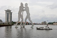 Molecule Man Sculpture & Connoisseur Caprice Houseboat, River Spree, Treptow, Berlin, Germany