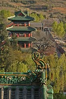 Taoist Buddhist mountain, Song Shan, roofs of the Shaolin Monastery, known for Shaolin boxing, Henan province, China, Asia