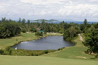 Hole 13 at Lemuria Golf Course, Lemuria Resort of Praslin, Praslin Island, Seychelles