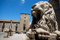 Statue of a stone lion in the square of the Cathedral of Avila, Spain