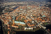 aerial photo of Luebeck, historic old town, Trave River, UNESCO World Heritage Site, Schleswig Holstein, Germany