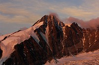 Mountain summit in morning light, pasterze glacier, Grossglockner, 3798m, Hohe Tauern National park, Carinthia, Austria