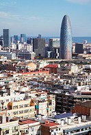 View of Barcelona city and Torre Agbar tower from Gaudi´s La Sagrada Familia temple