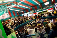 People at the attraction Teufelsrad, Oktoberfest, Munich, Bavaria, Germany, Europe