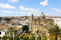View from the tower of Alcazaba in Jerez de la Frontera towards the Cathedral and the old town, Andalucia, Province Cadiz, Spain