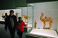 interior, visitors study ancient ceramic sculpture of camel, am People´s Square, Renmin Dadao, Chinas, exhibitions, Ancient Chinese Bronzes Gallery, A...
