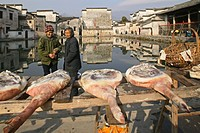 dried local hams, village pond, part of a complex water system, where water is channelled in front of every house, Hongcun, Huangshan, ancient village...