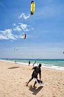 kite surfing on Tarifa beach, Andalucia, Province Cadiz, Spain