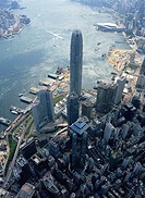Aerial view overlooking Central skyscrapers, Hong Kong