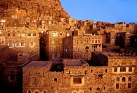 Asia,Yemen,Thula,Himyarite period, the town is very well preserved and includes traditional houses and mosques,stone houses view