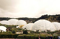 The Glasshouses at The Eden Project in Cornwall, UK.