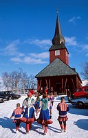 Norway, Finnmark, Kautokeino, On the way to mass