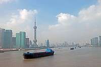 Skyline of Pudong from Huangpu River, Shanghai, China