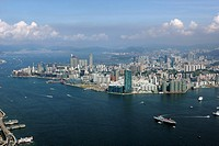 Aerial view of Victoria Harbour looking towards Kowloon, Hong Kong