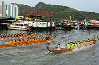 Dragon boat race held at Shaukeiwan, Hong Kong