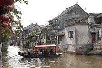Tourist boats on canal, Fengjing, Shanghai, China