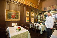 europe, switzerland, zurich, the restaurant kronenhalle with paintings of important artists