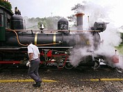 Brazil, Minas Gerais, historic city of Tiradentes, Part of the Estrada de Ferro Oeste de Minas West Minas Railway, created in 1878, the railway Tirade...