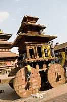 A big wooden chariot is almost ready for a big festival in Bhaktapur, Nepal.