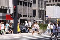 People Crossing the Avenue, Paulista Avenue, São Paulo, Brazil
