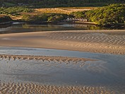 Wales, Gwynedd, Mawddach Estuary, Mawddach Estuary at low tide with a terrace of cottages in the distance