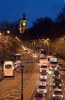 England, London, Embankment, Night traffic along Victoria Embankment.