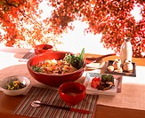 Japanese meal on outdoor table under Autumn leaves
