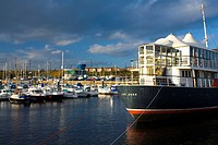 England, Tyne and Wear, North Shields, The Earl of Zetland, once a ferry working in the Sheltland Isles, is now a floating bar and restaurant moored i...