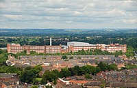 England, North Yorkshire, York, Looking towards the Rowntrees Nestle factory from York Minster.