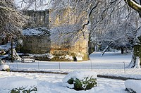 England, North Yorkshire, York, Snow covering the Roman_built Multangular Tower in the Yorkshire Museum Gardens in the centre of York.