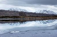 Scotland, Highland, Rannoch Moor, A frosted Loch Ba on Rannoch Moor.