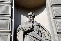 England, London, City of London, Statue of a banker on the exterior of the former Midland Bank headquarters building in Poultry.