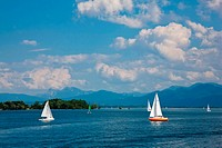Germany, Bavaria, Sailing boats on Chiemsee